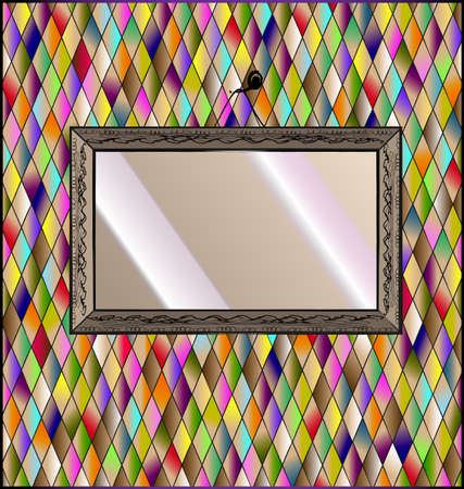 Romb background with abstract mirror.
