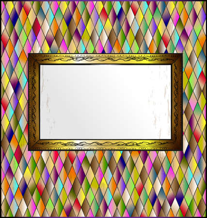 many colored romb background and abstract stylized empty frame Stock Photo