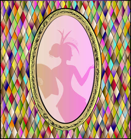 Many colored background and stylized oval frame with shadow of abstract woman
