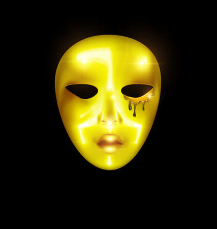 dark background and carnival golden mask of crying face