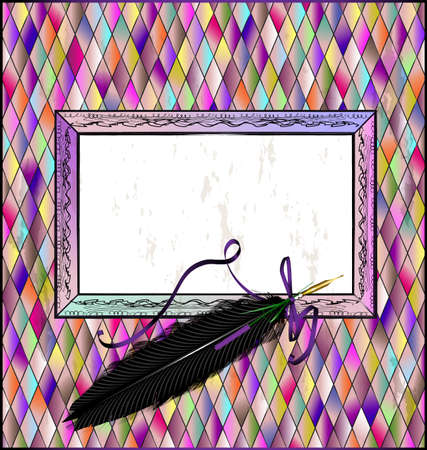 Many colored background and abstract stylized empty frame with black old-fashioned feather pen Vettoriali