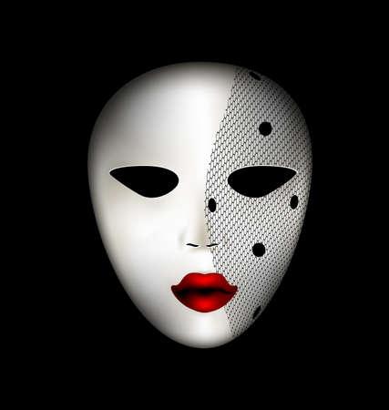 donkere achtergrond en carnaval wit masker met sluier