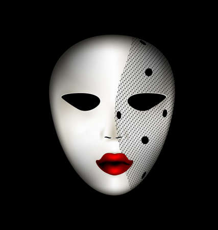 dark background and carnival white mask with veil