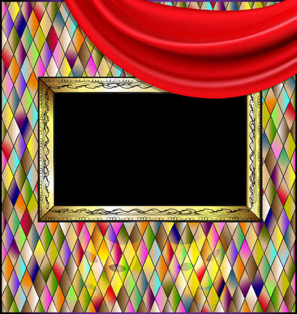 many colored romb background and abstract stylized empty frame wity red drape Illustration