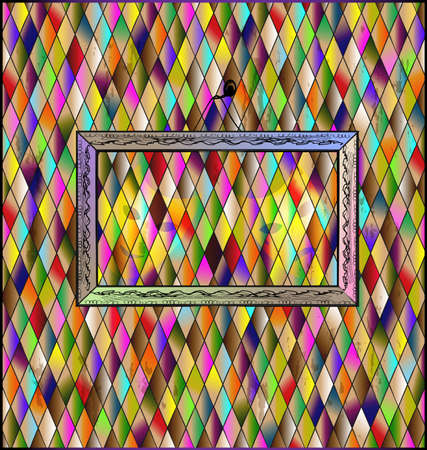 Many colored romb background and abstract retro stylized empty frame