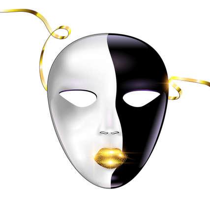 white background and carnival black golden mask