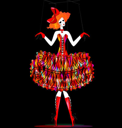 black background and red white fantasy of hand puppet Harlequin