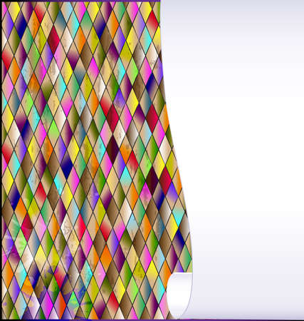 many colored romb background and abstract stylized empty sheet of white paper