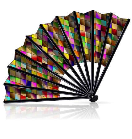 Large colored carnival fan vector illustration Stock Illustratie
