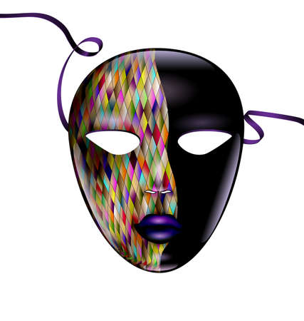 Carnival colored mask with tape vector illustration