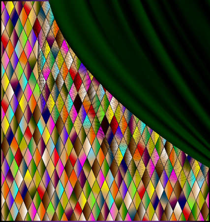 Many colored romb background with green drape. Illustration