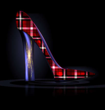 Dark background and the red purple plaid ladys shoe. Illustration