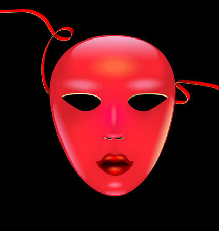 Colored red yellow mask of face