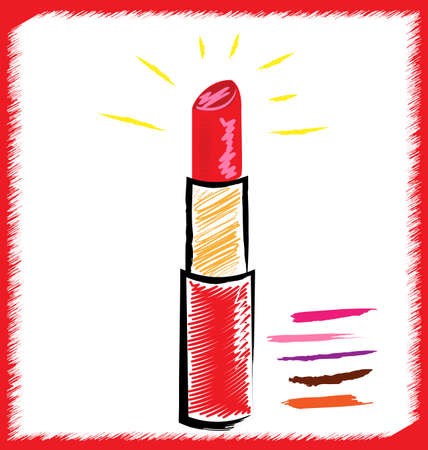 white background and abstract image of red lipstick in crimson Illustration