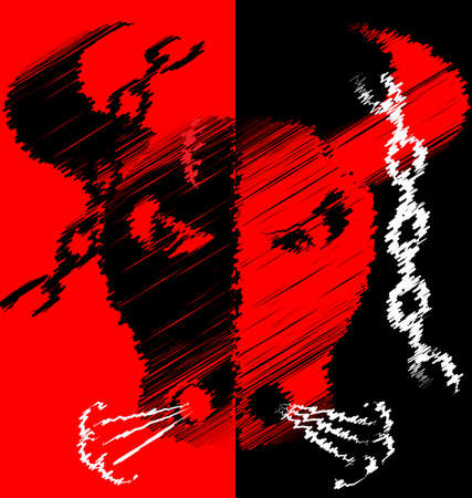 Abstract red black image of bull illustration on black background. 일러스트