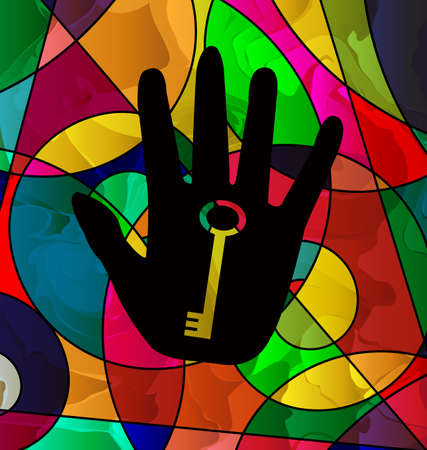 Abstract background colored image consisting of lines with image of dark hand and key