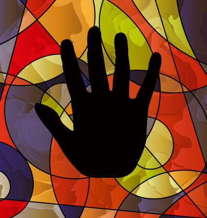 Abstract colored background with image of black hand.