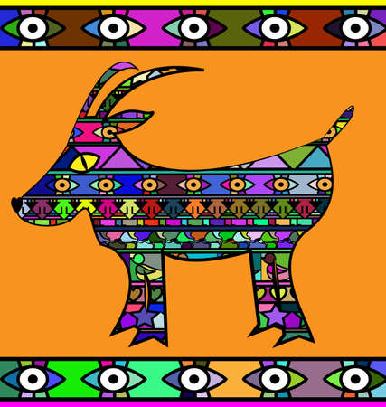 abstract colored image of goat Ilustrace