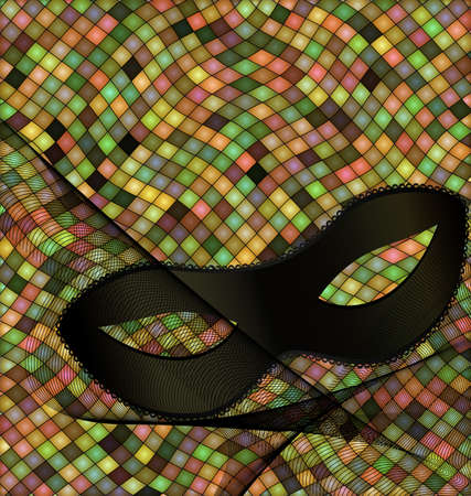 Abstract colored background image consisting of lines and cubes with carnival black half mask and veil.