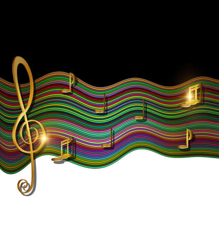 abstract colored background image of music consisting of lines, notes and waves