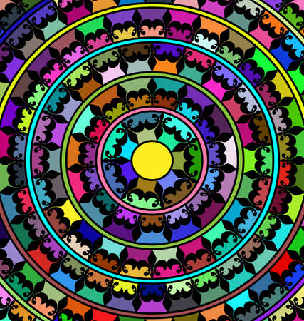 abstract colored image of mandala consisting of circles. lines and figures Çizim
