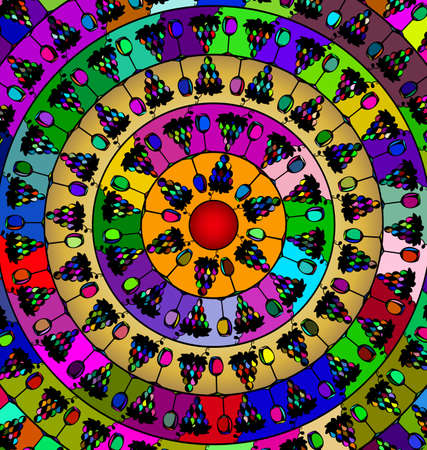 abstract colored image of mandala consisting of circles. lines and figures wine with grape Çizim