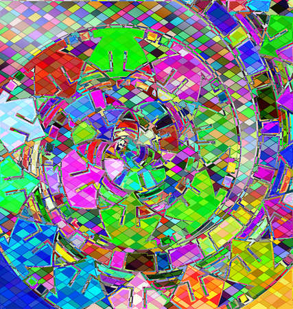 many colored background with abstract image of variation abstract spiral consisting of lines and figures Çizim