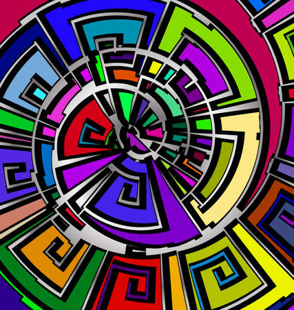 many colored background with abstract image of abstract spiral consisting of lines and figures Çizim