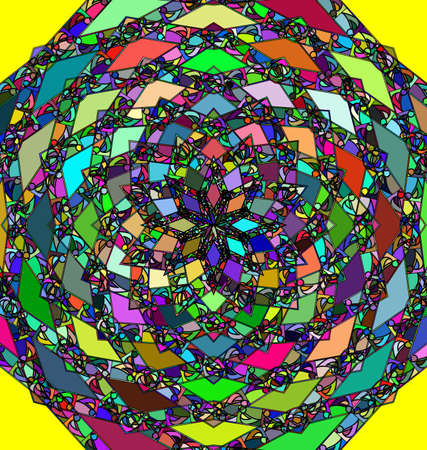 abstract multi colored vector illustration image of rosette consisting of lines, ornament and figures Çizim