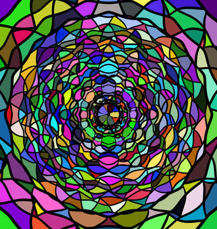 abstract colored vector illustration image of circle consisting of lines, rings and figures