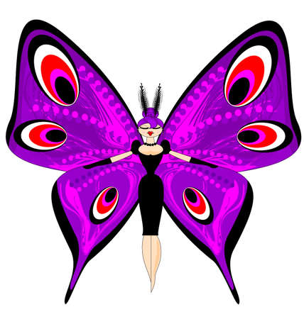 abstract colored vector illustration image of purple girl butterfly consisting of lines and figures