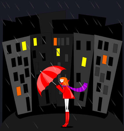 abstract colored vector illustration image of the night city, rain and red haired girl Çizim