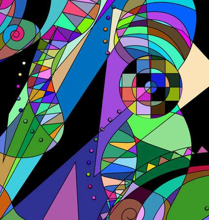 colored background image consisting of lines with abstract figures Çizim