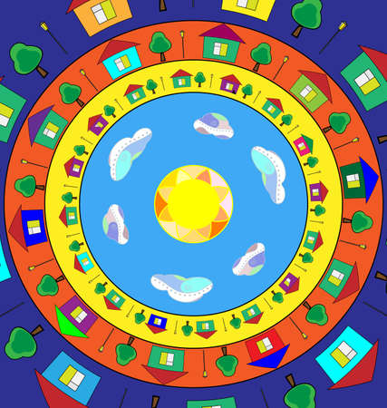 abstract colored vector illustration image of the city in circles consisting of lines and figures