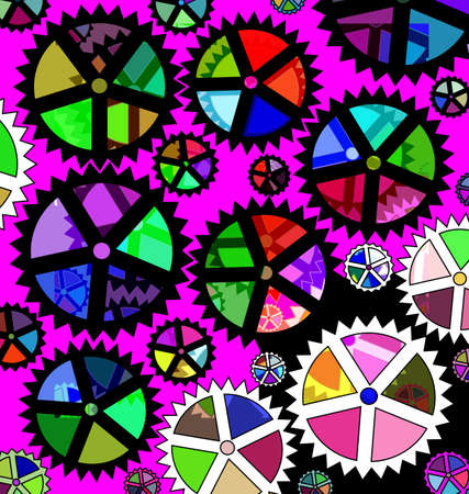 vector iillustration pink background and abstract color image of gears and plates