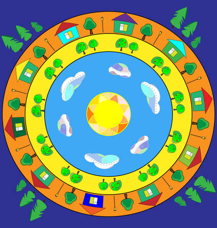 abstract colored vector illustration image of the world in circles consisting of lines and figures 版權商用圖片 - 125307148