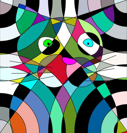 colored background image portrait of the abstract cat consisting of lines and figures Illustration