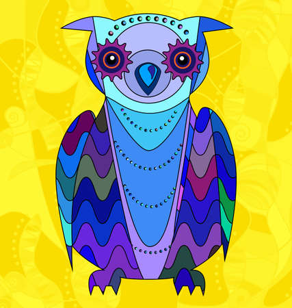 colored background image portrait of the abstract owl consisting of lines and figures