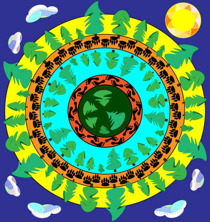 abstract colored vector illustration image of the forest in circles consisting of lines and figures