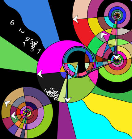 vector colored background image of crazy time consisting of lines, circles with abstract waves and figures Çizim