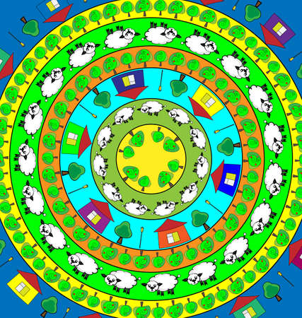 abstract colored vector illustration image of the lambs in circles consisting of lines and figures