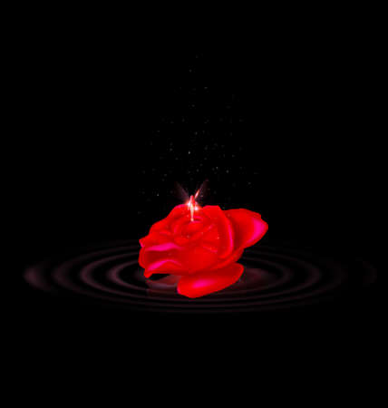 vector illustration dark image of the red-colored fantasy flower rose with black waves and flying fairy