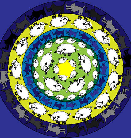 colored vector background lamb and wolves image consisting of lines and figures in circles Illustration