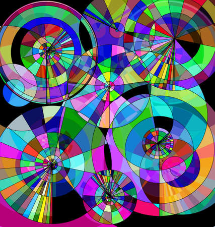 colored background image consisting of lines, circles with abstract figures Çizim