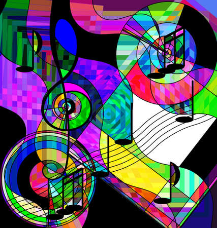 color background and abstract image of the musical chaos