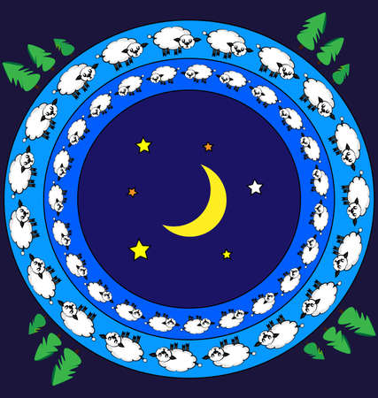 colored vector background image of lambs and night consisting of lines and figures in circles