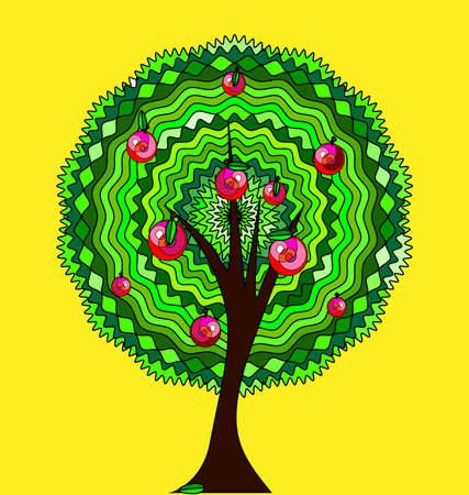 yellow background and the abstract apple tree