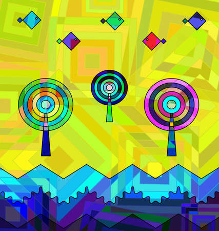 colored background image consisting of lines, circles with abstract waves and figures