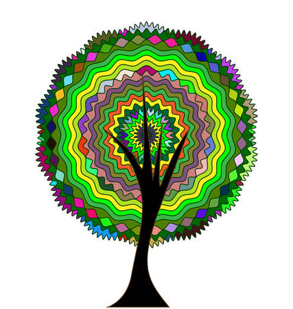 vector illustration abstract image of colored tree, consisting of lines, circles and figures Çizim