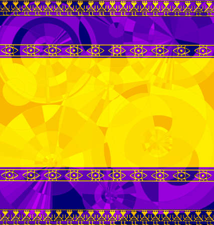 yellow purple colored background image of frame consisting of lines with abstract figures